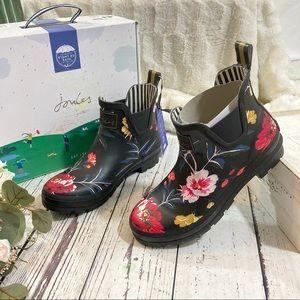 Joules wellibob black floral rain boots NEW